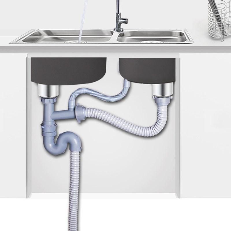 防臭全套淋塑料密封圈 s 池双盆双 道盖洗碗厨房洗菜盆管器