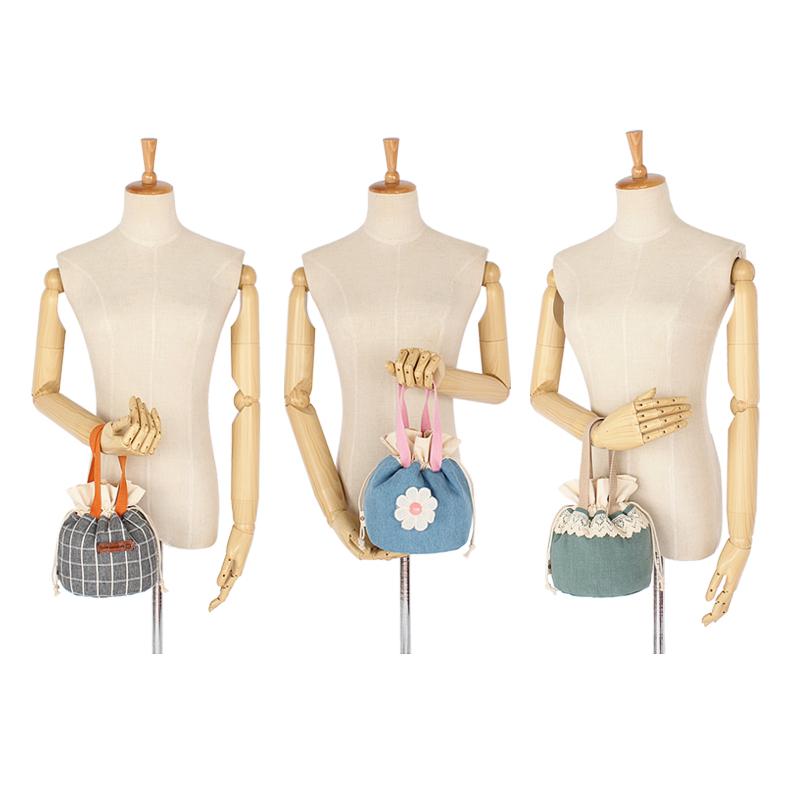韩版小清新帆布手提包女学生束口收纳袋手拎小布包简约迷你水桶包