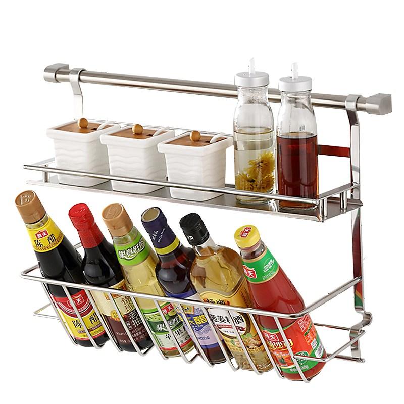 不锈钢置物架壁挂双层调味架收纳架厨房置物架挂件 sus304 厨房