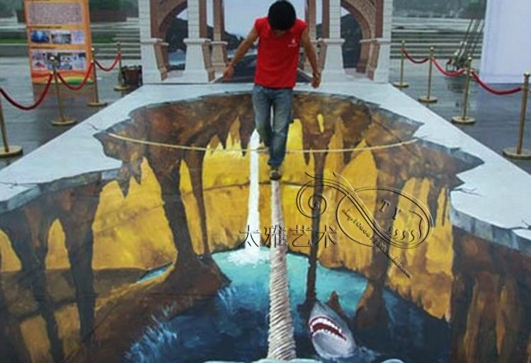 大型3d地畫商場房地產個性地貼防水裝飾創意自粘地板貼室外曬立體