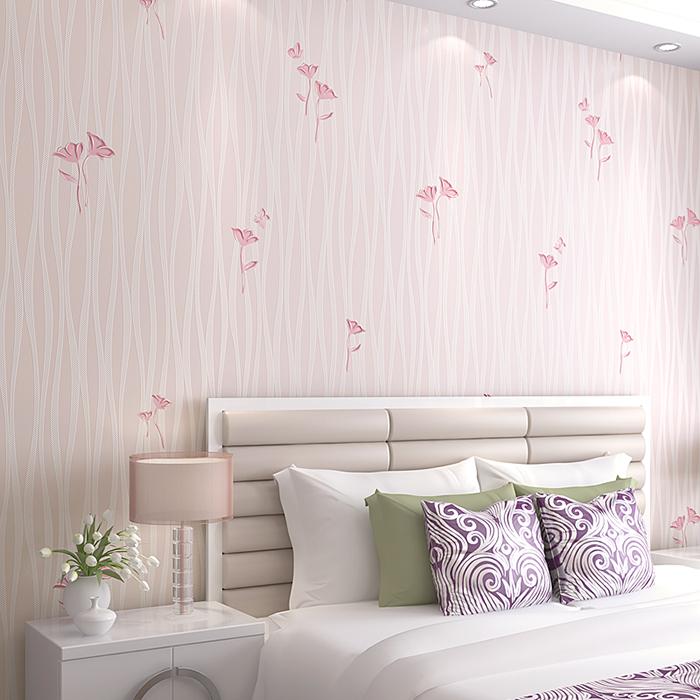 卧室温馨客厅电视背景 线条纹简约田园小花无纺布 墙纸