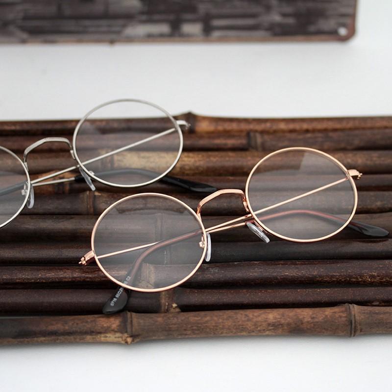 时尚创意韩国金属黑银框圆形无度数平光眼镜复古男款女版个姓平面