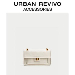 预售URBAN REVIVO春季新品女士配件菱格斜挎包AW01TB4X2001
