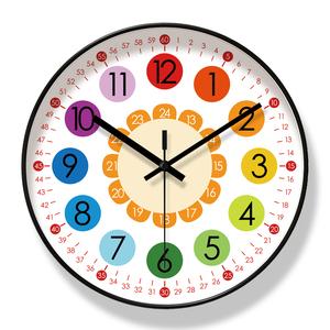 儿童房挂钟早教学习静音时钟表幼儿园教室学生认表自动对时电波钟