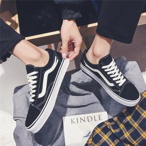 男鞋子潮鞋春季官网万斯能帆布鞋男女情侣低帮百搭韩版滑板鞋男士