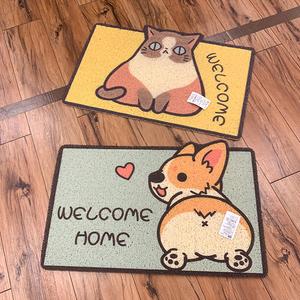 爱家居精选 萌物柯基卡通猫咪卫生间脚垫PVC丝圈防滑地垫进门门垫