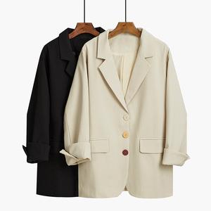 网红小西装外套女韩版宽松2020年新款春季复古英伦风黑色休闲西服