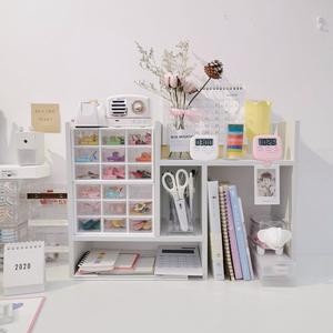 ins风简约宿舍桌面书架简易置物架木质组合柜多功能化妆品收纳架