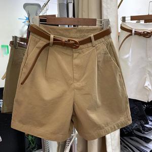 薄款卡其色短裤女2021夏新款宽松大码女装高腰阔腿休闲五分中裤子