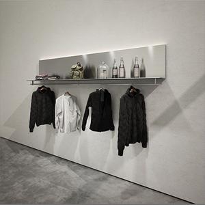 简约服装店展示架轻奢上墙男女装店壁挂式衣架银色铁艺货架新款式