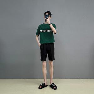 TWENTY FIVE原创轻熟风印花短袖t恤男夏季纯棉宽松薄款透气百搭T
