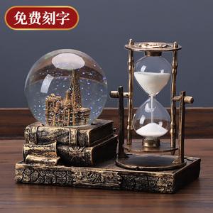 复古水晶球沙漏计时器创意摆件酒柜客厅家居装饰品个性房间电视柜