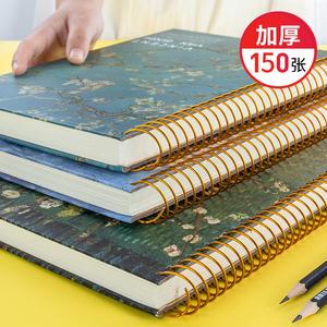 大号加厚复古笔记本子活页课堂线圈本简约大学生文艺精致学生文具