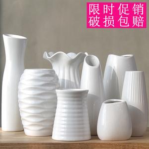 小清新陶瓷白色水培花瓶透明玻璃花器插干花北欧家用装饰客厅摆件