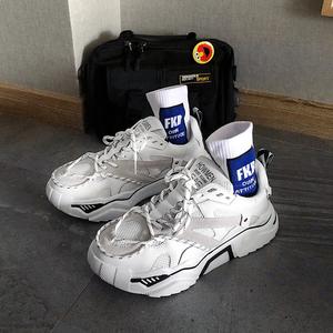 男鞋港风超火ins网红跑步运动鞋情侣百搭白黑色老爹板鞋子男潮鞋