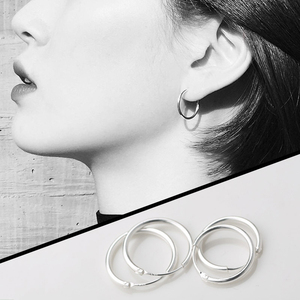 纯银耳环2020年新款潮男女小圆圈耳圈耳钉耳饰银饰耳骨环耳扣2021