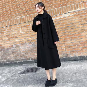 2020新款女裝秋冬長款毛呢外套女黑色顯瘦長過膝雙面羊絨呢子大衣