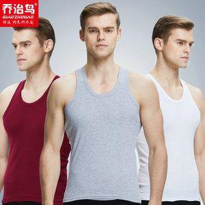 男士背心纯棉修身型青年全棉透气夏季白色打底汗衫健身工字跨栏男