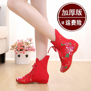 老北京布鞋秋冬民族风绣花鞋单鞋内增高系带女鞋高帮单靴加绒棉鞋