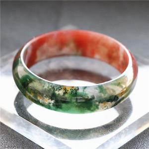 水草玛瑙手镯印度天然七彩玛瑙绿色水晶玉髓冰透飘花加宽手镯女款