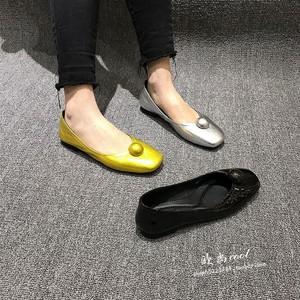 欧洲站2019欧货春季新款真皮方头浅口大铆钉热卖低帮奶奶单鞋女鞋