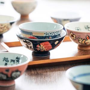 日本进口美浓烧家用米饭碗招福动物小碗招财猫达摩陶瓷碗日式餐具