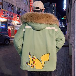 冬季皮卡丘毛领外套男士冬装2019年新款韩版潮流棉衣宽松棉服棉袄
