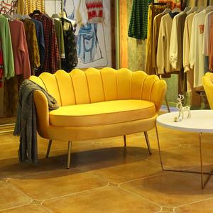 现代北欧轻奢简约客厅小户型美容院服装店铺网红懒人布艺单人沙发