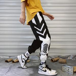 国潮运动裤男夏季薄款嘻哈hiphop宽松束脚九分裤学生欧美街头潮裤