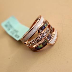 威妮华欧美天然彩贝壳夸张戒指女时尚高档水钻食指环网红装饰品潮
