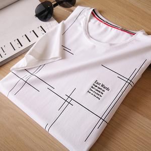 设计感男士短袖夏季薄款圆领几何图案印花修身流行白色T恤潮TB055