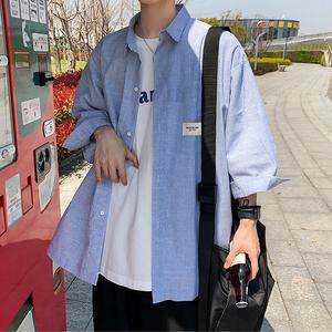 七分袖蓝色条纹衬衫男士短袖韩版潮流2020新款外套春夏季衬衣宽松