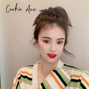 cookie饰品韩国黑色蕾丝蝴蝶结大肠发圈高弹力扎头发头绳女扎马尾