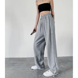何以沫灰色运动裤女裤子高腰束脚裤宽松直筒裤休闲裤春夏薄款卫裤