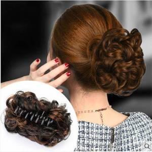 发夹发抓夹假发女发圈发包盘发器拉花短卷发花苞女头花蓬松大发圈