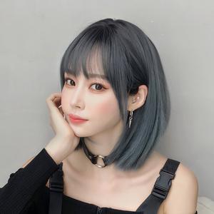 假发女短发漫画刘海锁骨发新式发套LISA同款假发全头套齐肩假发套