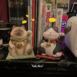 *Fish store*猫咪陶瓷摆件日系装饰招财猫招福宠物猫家居装饰
