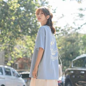 茉语家2020新款短袖t恤女夏宽松韩版蓝色休闲后背印花学生上衣潮
