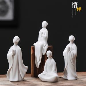 禅意白瓷人物中式小和尚茶道配件陶瓷无相佛盆景鱼缸装饰家居摆件