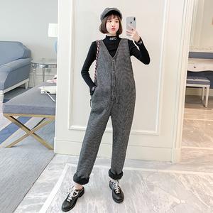 卫梵妮孕妇背带裤秋冬新款套装2019时尚款加绒加厚潮妈外穿两件套