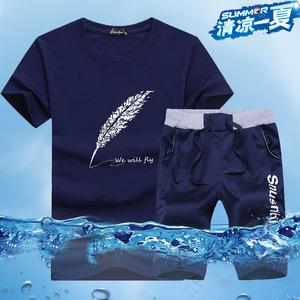 运动套装男2020夏季新品韩流潮流短袖体恤休闲夏装男士圆领衣服
