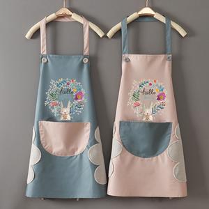 厨房做饭家用围裙防水防油女时尚可爱韩版围腰男士工作服定制印字