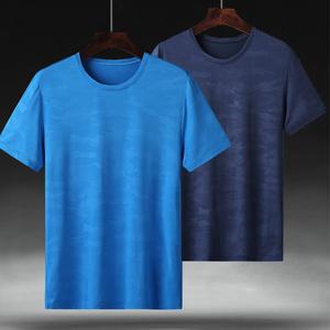 夏季戶外速干t恤男士運動寬松透氣大碼短袖肥佬胖子圓領訓練上衣