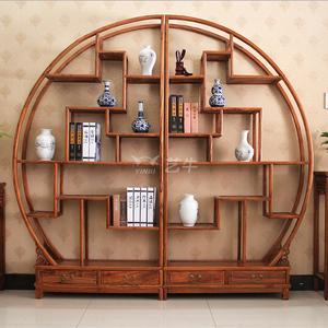 仿古家具中式多宝阁实木大圆形博古架双半圆茶叶古董置物架展示柜