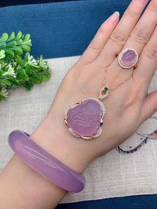 紫罗兰冰种芙蓉玉手镯女款天然A货紫玉髓镯子翡翠色手镯附带证
