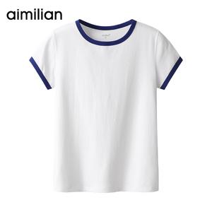 艾米恋纯棉短袖白色t恤女夏2020年新款ins潮修身短款上衣打底衫丅