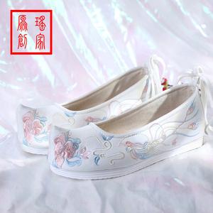 春秋內增高復古女弓鞋古代漢服配鞋子古風女鞋繡花鞋布鞋翹頭平底