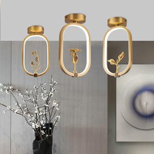 极简全铜新中式玄关阳台过道走廊现代简约中国风花形铜灯具吸顶灯