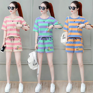条纹两件套装夏季2021新款女装韩版百搭短款短袖+阔脚休闲运动裤