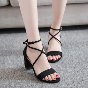 凉鞋女仙女风2020夏季新款中跟粗跟韩版学生配裙子的鞋罗马高跟鞋